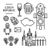 Czech various traditional things icons isolated black outline stock images