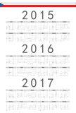 Czech 2015, 2016, 2017 year vector calendar. Simple Czech 2015, 2016, 2017 year vector calendar. Week starts from Monday stock illustration