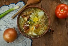 Czech Zelnacka. Zelnacka, Bohemian cabbage soup, Czech cuisine, Traditional assorted dishes, Top view royalty free stock photo