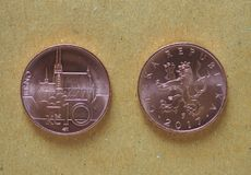10 czecha Koruna monet, republika czech Zdjęcie Stock