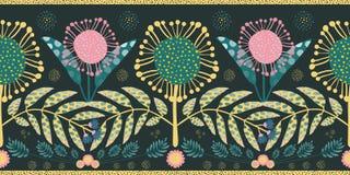 Czecha stylu granica z menchiami, cyraneczka liście i kwiaty i Bezszwowy geometryczny wektorowy projekt z złocistym obdzierganiem royalty ilustracja