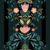 Czecha stylu menchie, złoto kwiaty i cyraneczka liście, Papieru cięcie za skutku na liściach Bezszwowy wektoru wzór dalej subteln royalty ilustracja