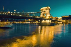 Czechenyi Chain Bridge in Budapest, Hungary, early evening Stock Image