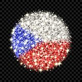 Czechia flag sparkling badge. Czech Republic flag sparkling badge. Round icon with Czechia national colors with glitter effect. Button design. Vector Royalty Free Stock Photo