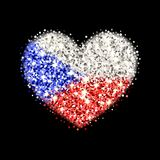 Czechia flag sparkling heart badge. Czech Republic flag sparkling badge in heart shape. Icon with Czechia national colors with glitter effect. Button design Royalty Free Stock Image