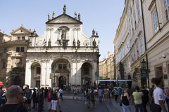 Czechia people and foreigner travelers go to visit Church St Saviour or Salvator Stock Image