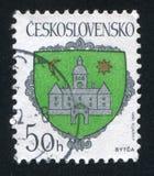 Arms of Bytca. CZECHOSLOVAKIA - CIRCA 1990: stamp printed by Czechoslovakia, shows arms of Bytca, circa 1990 stock photo