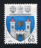 Arms of Jicin. CZECHOSLOVAKIA - CIRCA 1977: stamp printed by Czechoslovakia, shows arms of Jicin, circa 1977 stock images