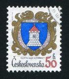 Arms of Kamyk nad Vltavou. CZECHOSLOVAKIA - CIRCA 1985: stamp printed by Czechoslovakia, shows arms of Kamyk nad Vltavou, circa 1985 royalty free stock photo