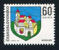 Arms of Mikulov. CZECHOSLOVAKIA - CIRCA 1973: stamp printed by Czechoslovakia, shows arms of Mikulov, circa 1973 royalty free stock photos