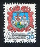 Arms of Nove Mesto Nad Metuji. CZECHOSLOVAKIA - CIRCA 1982: stamp printed by Czechoslovakia, shows arms of Nove Mesto Nad Metuji, circa 1982 stock photography