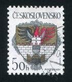 Arms of Podebrady. CZECHOSLOVAKIA - CIRCA 1990: stamp printed by Czechoslovakia, shows arms of Podebrady, circa 1990 royalty free stock image