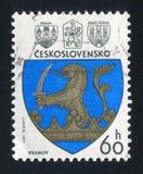 Arms of Vranov. CZECHOSLOVAKIA - CIRCA 1977: stamp printed by Czechoslovakia, shows arms of Vranov, circa 1977 stock image