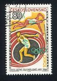 Discus Thrower and Pole Vaulter. CZECHOSLOVAKIA - CIRCA 1964: stamp printed by Czechoslovakia, shows Discus Thrower and Pole Vaulter, circa 1964 Royalty Free Stock Photos