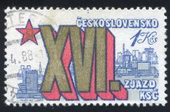 View of Bratislava. CZECHOSLOVAKIA - CIRCA 1981: stamp printed by Czechoslovakia, shows View of Bratislava, circa 1981 royalty free stock images