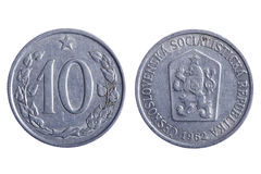 Czechoslovakia coins macro Royalty Free Stock Photos