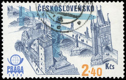 Czechoslovakia Postage stamp. Prague old town stock image