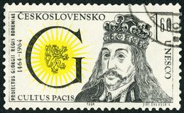 CZECHOSLOVAKIA - 1964: shows King of Bohemia George of Podebrad Andersen 1420-1471, 500th anniversary of the pacifist efforts. CZECHOSLOVAKIA - CIRCA 1964: A royalty free stock photo