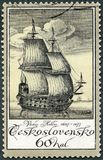CZECHOSLOVAKIA - 1976: shows old engraving of ship by Vaclav Hollar 1607-1677, Czech etcher, series Old Engravings of Ships Royalty Free Stock Image