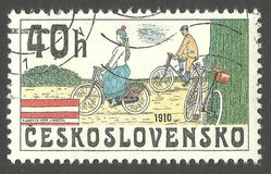 Bicycles 1910. Czechoslovakia - stamp 1979, Multicolor commemorative issue Cycling, Series Historic bicycles, Bicycles 1910 stock photo
