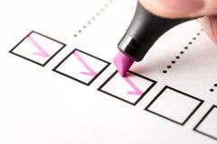 Czek listy dokument skończeni praca obowiązki, odpowiedzialność i zdjęcie stock