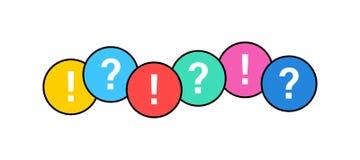 Czek oceny ikony set Zielony OK lub V cwelich, czerwień X, okrzyk ocena, znak zapytania Zatwierdzenie znaki Czek lista, test, qui ilustracji