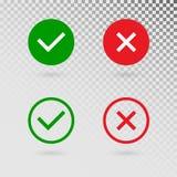 Czek oceny ustawiać na przejrzystym tle Zielony cwelich i czerwony krzyż w okregów kształtach TAK lub ŻADNY akceptuje i obniża ilustracja wektor