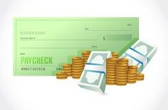 czek z wypłatą i pieniądze ilustracyjny projekt Zdjęcie Stock