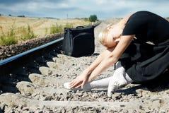 czekaj na pociąg Zdjęcia Stock