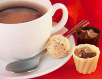 czekolad filiżanki jedwab Zdjęcia Royalty Free