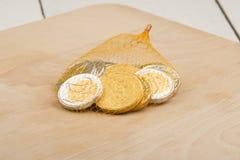 Czekolad monety Zdjęcia Stock