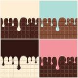 Czekolada, śmietanka, waniliowa śmietanki, menchii i błękita, Set rozciekły śmietanki i czekolady obcieknięcia puszek na czekolad royalty ilustracja