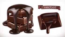 czekolada 3d realistyczna wektorowa ikona ilustracja wektor
