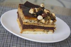 Czekolada i dokrętka tort Fotografia Stock