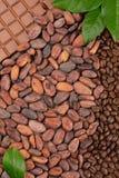 Czekolada, kakao i kawowe fasole z liścia tłem, fotografia royalty free