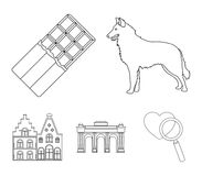 Czekolada, katedra i inni symbole kraj, Belgia ustalone inkasowe ikony w konturu stylu symbolu wektorowym zapasie ilustracja wektor
