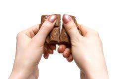 czekolada krakingu fotografia stock
