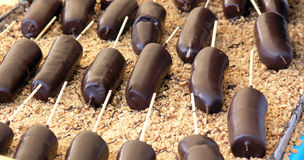 czekolada zamaczająca banan Zdjęcie Stock