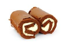 czekoladowa śmietanka wypełniać pary rolki Obraz Stock