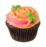 Czekoladowa babeczka z róży Kształtnym mrożeniem Zdjęcia Stock