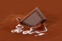 Czekoladowa kawałek kropla w Czekoladowego mleko, 3D rendering Zdjęcie Royalty Free