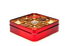 czekoladowa pudełkowata czerwone. Obrazy Royalty Free