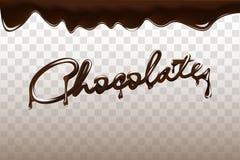 Czekoladowa ręka rysująca 3D literowania projekta wektoru ilustracja Ciekła ciemna czekolada odizolowywająca na przejrzystym tle royalty ilustracja