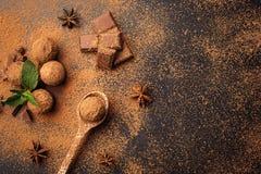 Czekoladowa trufla, Truflowi czekoladowi cukierki z kakaowym proszkiem Ho Obraz Stock