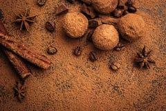 Czekoladowa trufla, Truflowi czekoladowi cukierki z kakaowym proszkiem Ho Obraz Royalty Free