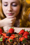 czekoladowa truskawka Fotografia Royalty Free