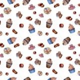 Czekoladowe babeczki, cukierek i macaroons, zdjęcie stock
