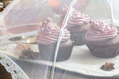 Czekoladowe babeczki dekorować z jagodową śmietanką fotografia royalty free