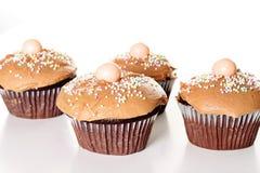 czekoladowe babeczki odizolowywali biały yummy Fotografia Stock