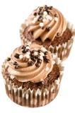 Czekoladowe babeczki z czekoladowym lodowaceniem i dekoracją  Zdjęcie Stock